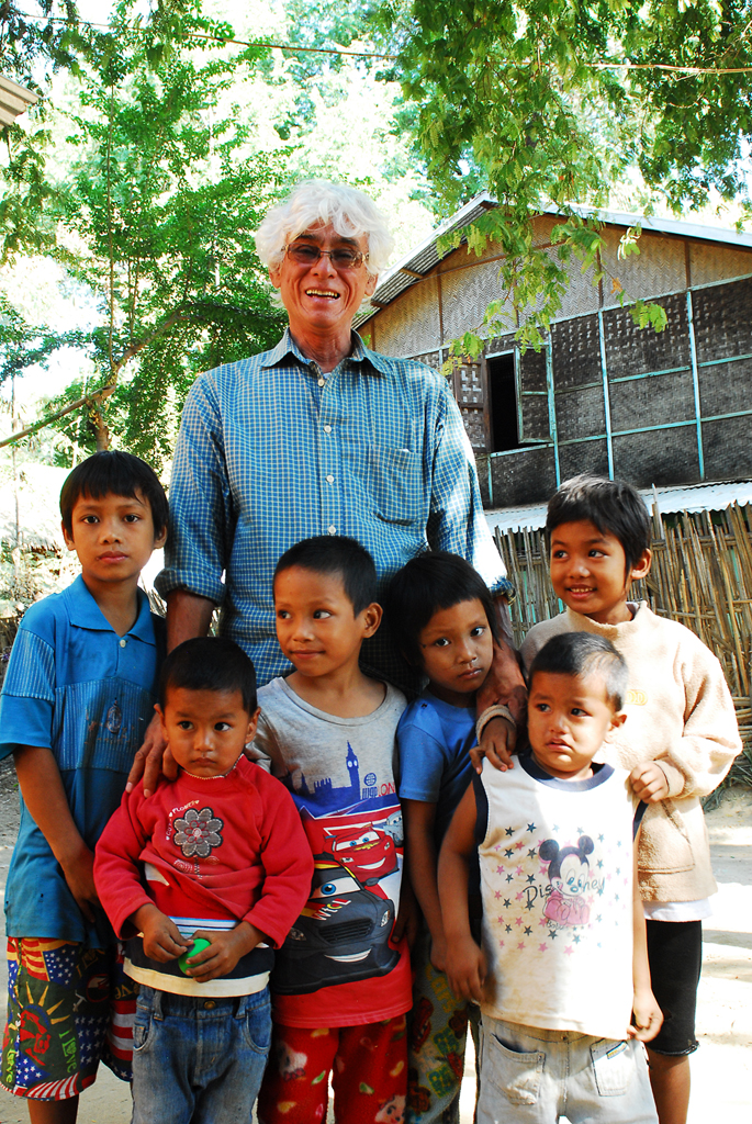 Eric and some of the kids from the school